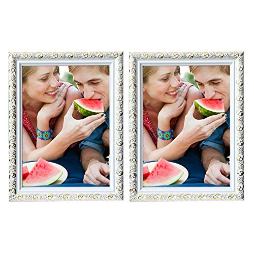 Klinsten 8x10 Picture Frame White Elegant and Nice Design 8x10 Photo Display Photo Frame for Desk or Wall 2 Pack