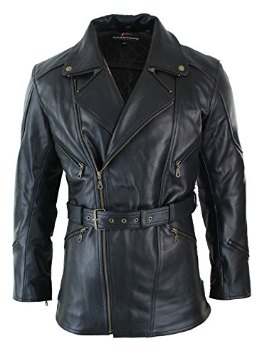 Mens Cross Zip Belted Black 3/4 Motorcycle Biker Long Leather Jacket CE Armour (Leather Belted Motorcycle Jacket)