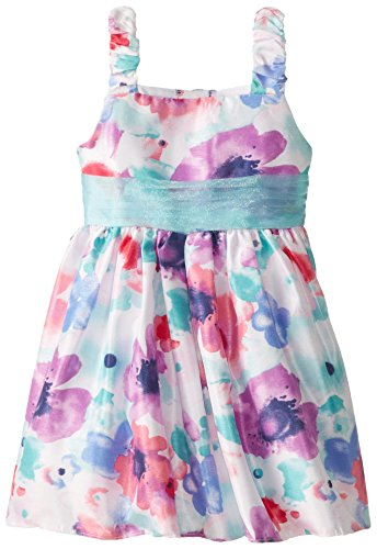 Sweet Heart Rose Little Girls' Floral Print Watercolor Occasion Dress, Blue/Multi, 6