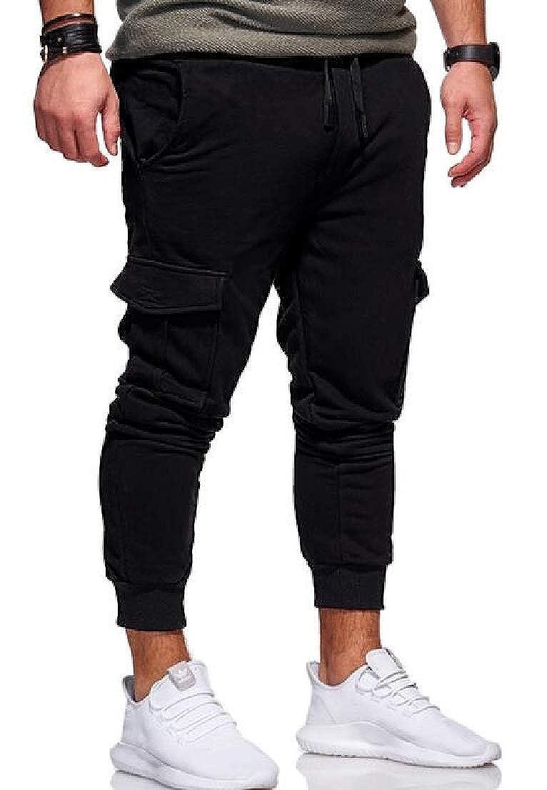 UUYUK Men Multi Pockets Drawstring Waist Sport Running Sweatpants Jogger Pants