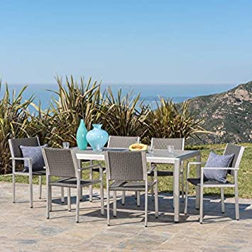 GDF Studio 300363 Coral Bay Outdoor 7Pc Grey Aluminum Dining Set w Glass Table Top