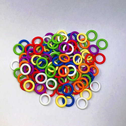 (140 Pieces) Soft Stitch Ring Markers for knitting/crochet/etc, (Available in 2 sizes, Includes 7 colors, for knitting/crochet/etc)(Small Internal diameter 5mm ) - Stitch Markers