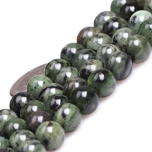 - Green Dendritic Green Jade Beads for Jewelry Making Natural Semi Precious Gemstone 8mm Round Strand 15