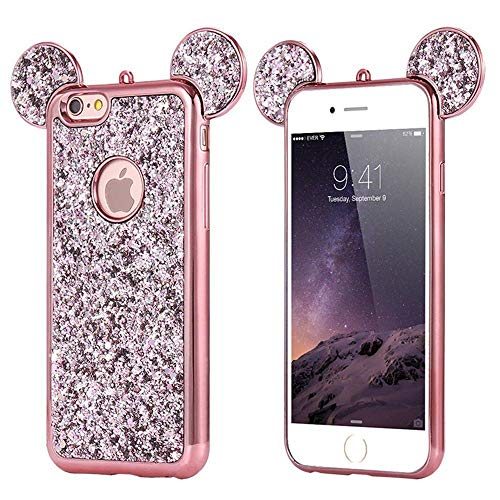 Gel Ear Mini (Luxury Glitter Bling Ears Soft Case Cover for iPhone 5 5s SE 6 6S 7 7plus 8 8plus X Xs Max Samsung Diamond Character Drop Protection Cover [TPU Case] (Rose Gold, iPhone 7plus))