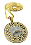 "Iced Out Peace Symbol Medallion Pendant Stainless Steel Necklace with 30"" Chain"