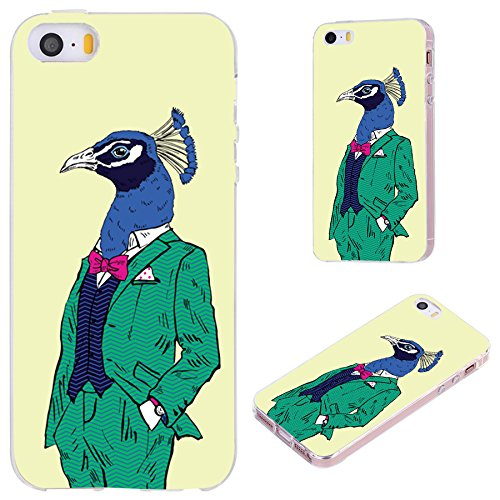 Seventies Fancy Dress (iPhone SE Case,iPhone 5S Case,iPhone 5 Case,VoMotec [Cute series] Anti-scratch Slim Flexible Soft TPU Protective Skin Cover Case For iPhone 5 5S SE,fashion peacock in green dress on yellow)