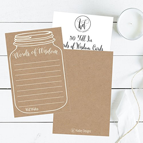 50 Rustic Mason Jar Words of Wisdom Advice Cards, Use As Graduation Advice Cards, Marriage or Wedding Advice Cards, Bridal or Baby Shower Party Games, Boy or Girl Baby Prediction or Advice Cards Photo #5