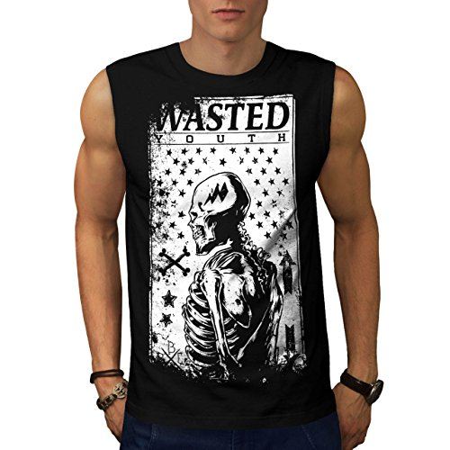 [Wasted Youth Skeleton Skull Life Men NEW S Sleeveless T-shirt | Wellcoda] (1940s Dance Costumes)