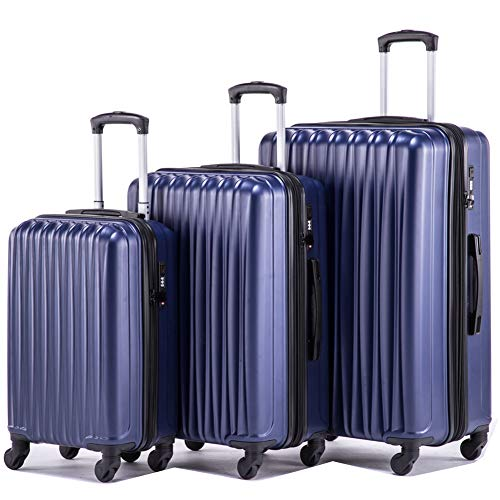 (Expandable Luggage Sets Lightweight Hardshell Spinner Luggage with TSA Lock Suitcase Set 3 pieces including 20inch Carry On 24inch 28inch(Navy)))