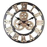 Cheap AjoliHome Retro Gear Clock Living Room Wall Clock Custom Creative Clock Wooden 3D Wall Clock (Gold, 16 inch)