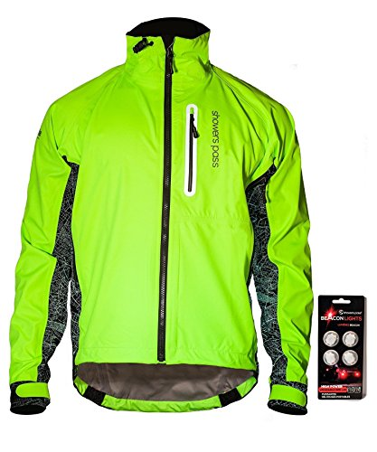 Showers Pass Men's 3M Scotchlite Hi-Vis Elite Waterproof Cycling Jacket (Neon Green/Reflective Silver - Medium)
