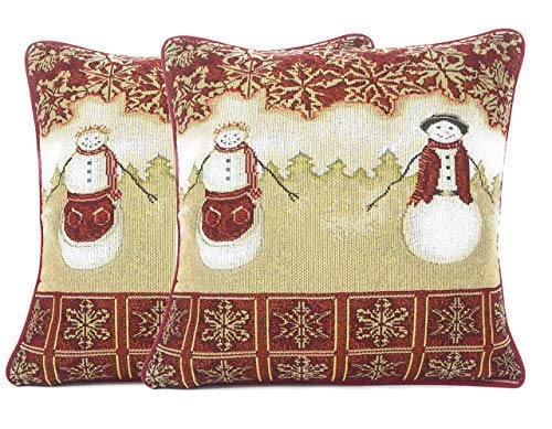 (Tache Mr. & Mrs. Snowman Couple Vintage Christmas Eve Holiday Snowflakes Traditional Red White Decorative Woven Tapestry Cushion Throw Pillow Cover, 16 x 16, 2 Pieces)