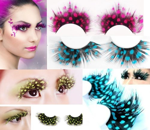 Hitece@ New 3 pairs Deluxe Party Feather False Eyelashes Eye Lashes For Halloween Party