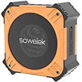 Solar-Powered Bluetooth Speaker, Soweiek Portable IPX6 Waterproof Wireless Speaker with 20 Hours Playtime HD Stereo Sound Deep Bass Mic AUX Durable Design - Orange