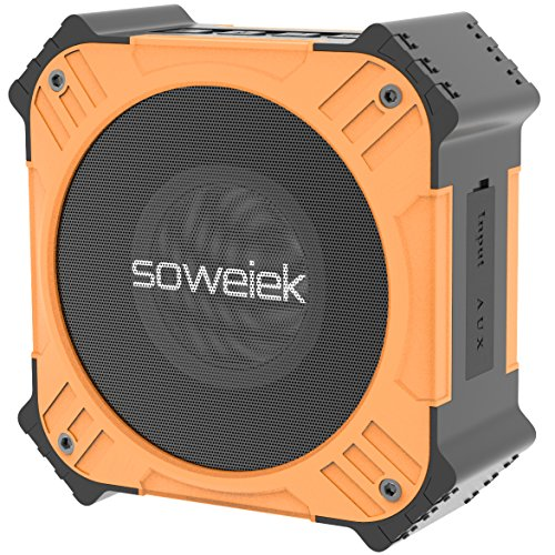 Solar-Powered Bluetooth Speaker, Soweiek Portable IPX6 Waterproof Wireless Speaker with 20 Hours Playtime HD Stereo Sound Deep Bass Mic AUX Durable Design - Orange by Soweiek