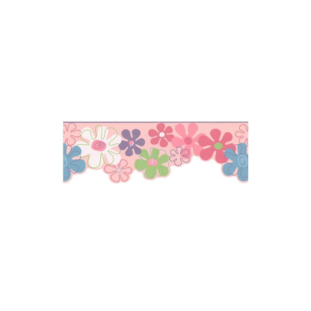 York Wallcoverings KL2961BSMP York Kids IV Flower Power 8-Inch x 10-Inch Memo Sample Wallpaper-Borders, Pink/Blue/White