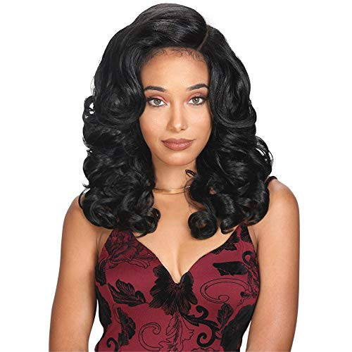 (Royal Sis Beyond Synthetic Natural Top Knot & Half Up-Do Style Full Circle Hand-Tied Moon Part Lace Front Wig BYD MP-LACE H KENZIE (1 [Jet Black]))