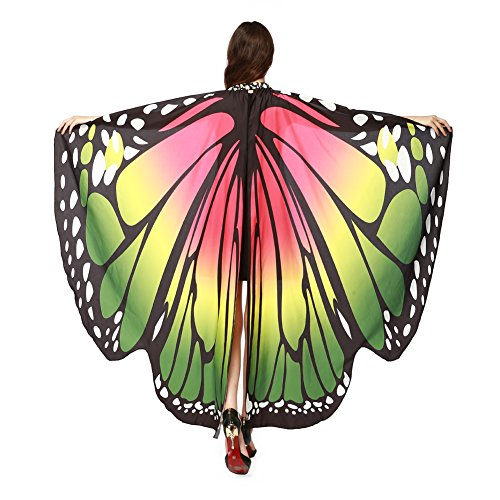 (LERFEY Prop Soft Fabric Butterfly Wings Shawl Fairy Nymph Pixie Costume Accessory, Rose Green,)