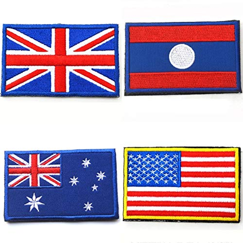 - Embroidery - Nation Flag Emblem Patch Embroidered Applique National Country Sew Trim - Clothes Applique Flag Light Dress Embroidery Diamond Patch Tactic Flag Honor Country Leaf America