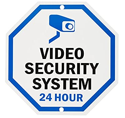 "WALI Aluminum Sign for Home Business Security, Legend ""Video Security System 24 Hour"",10"" Tall Octagon, UV Protected & Waterproof, Black/Blue on White from WALI"