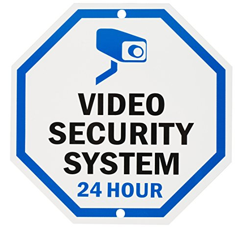 "Aluminum Sign for Home Business Security, Legend ""Video Security System 24 Hour"",10"" tall octagon, UV Protected and waterproof (SIGN-A-2), Black/Blue on White from WALI"