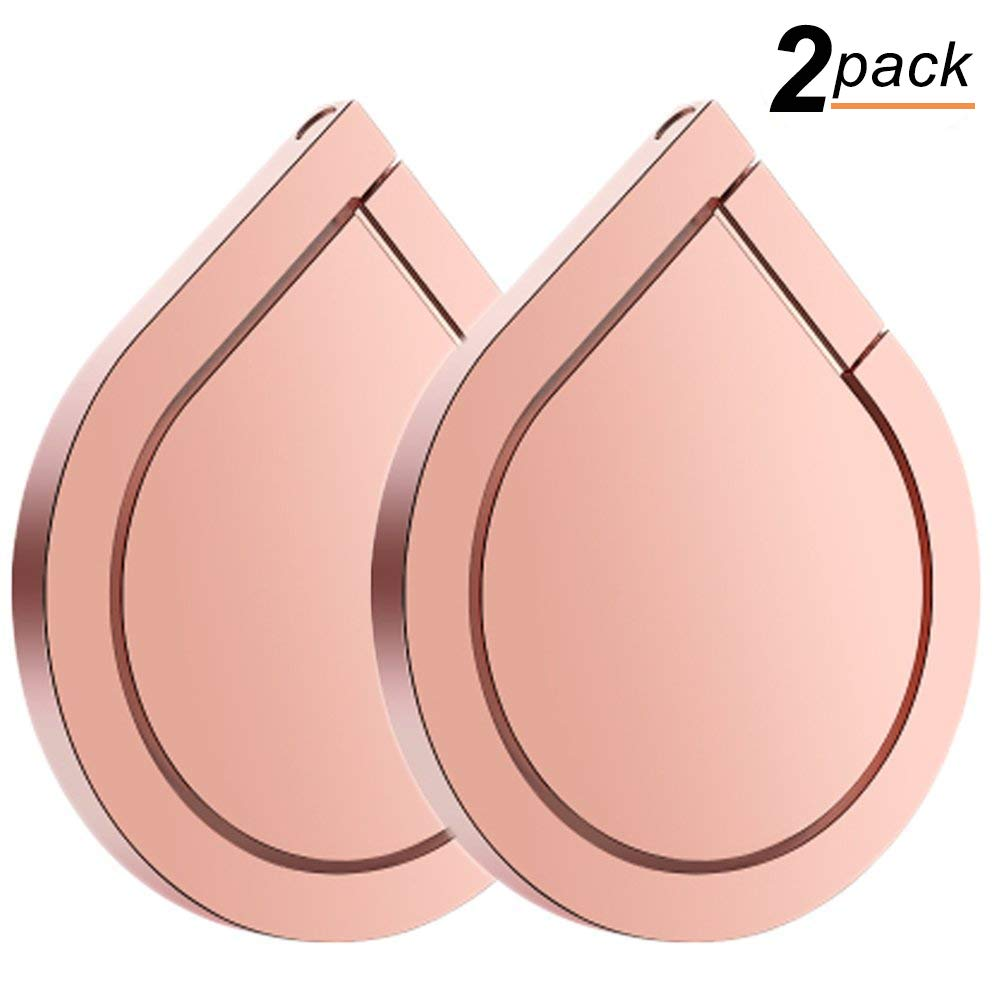 Phone Ring Holder, 2PCS Full-metal 360° Rotation Phone Grip Kickstand Work on Magnetic Car Holder Universal Finger Ring Stand Compatible with iPhone 8 7 Plus 6S, Samsung Galaxy and iPads (Rose Gold)