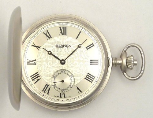 Bernex Swiss Made Large Rhodium Plated Pocket Watch with 17 Jewel Mechanical Movement