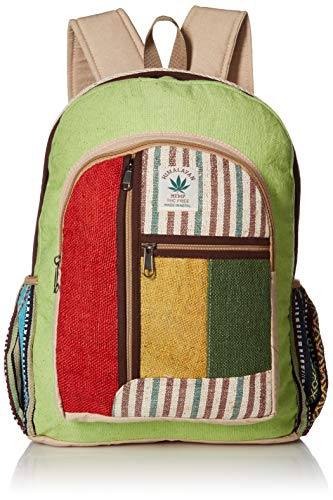 (Nepali Handmade Hemp Rasta Backpack - 100% Pure Hemp (THC FREE) Backpack Handmade Nepal with Laptop Sleeve - Fashion Cute Travel School College Shoulder Bag / Bookbags / Daypack)