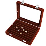 Pasutewel Earring Storage Case 7 Slots Ring Velvet Display Case Box Earring Ring Organizer Velvet Jewelry Tray Cufflink Storage Showcase with Clear Glass Lid Brown