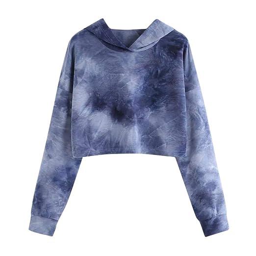 ae8bab6c97a6fa BCDshop Women Long Sleeve Sweatshirt Pullover Fashion Colorful Print Hoodie  Crop Tops (Dark Blue,