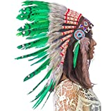 Feather Headdress- Native American Indian Inspired- Handmade by Artisan Halloween Costume for Men Women - Real Feathers - Green Duck