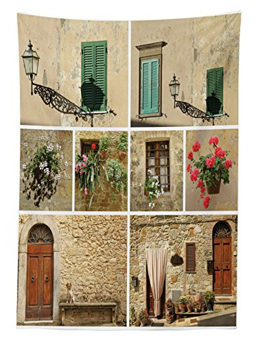 Tuscan Decor Tablecloth by Ambesonne, Various Pictures of Italian Lifestyle with Old Classic Shutter Window and Stone Houses Print, Rectangular Table Cover for Dining Room Kitchen, 60x84 Inch, Multi