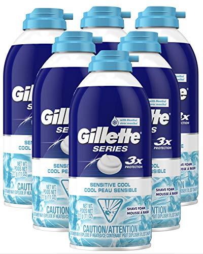 Gillette Series Sensitive Cool Shaving Foam, 11 oz. (Pack of 6)