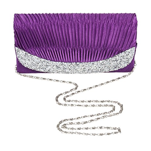 Adorn Medium Cross Body Womens Rhinestone Clutch Evening Silver Damara Satin Bag UFzqxR