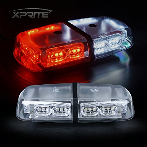 Xprite Gen 3 Red White 36 LED 18 Watts Roof Top Hign Intensity Law Enforcement Emergency Hazard Warning LED Mini Bar Strobe Light with Magnetic Base