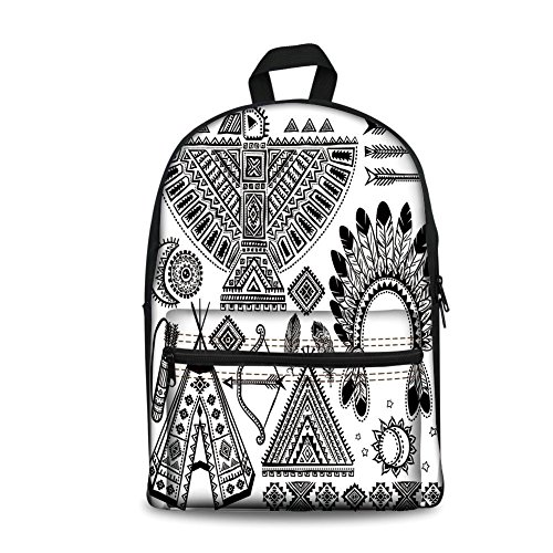 Native Teepee American Indian (Design the fashion fo Kids Back to School Backpack, Canvas Book Bag,Tribal,Native American Feather Head Band Ethnic Teepee Tent Bow and Arrow Art Print,Black and White.)