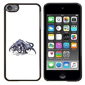 LECELL--Funda protectora / Cubierta / Piel For Apple iPod Touch 6 6th Touch6 -- Dibujo Dragón gris mítico Arte Salvaje --