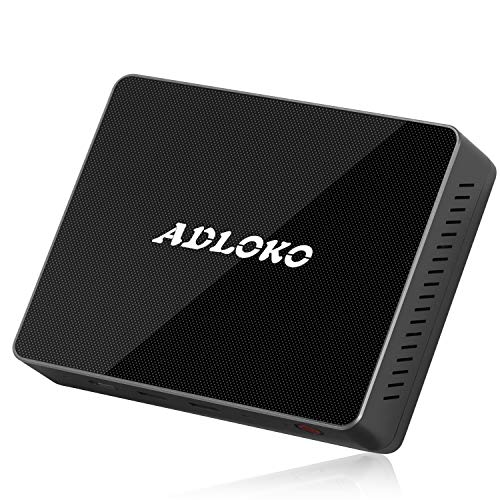 (ADLOKO GE41 Fanless Mini PC, Windows 10 64-Bit/4GB Ram/Intel Pentium Gemini Lake (up to 2.4 GHz)/Support SSD&HDD/Gigabit Ethernet/Dual-Band Wi-Fi/USB-C)