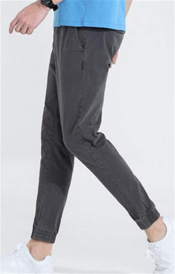Pandapang Mens Casual Elastic Waist Pull On Drawstring Harem Jogger Pants