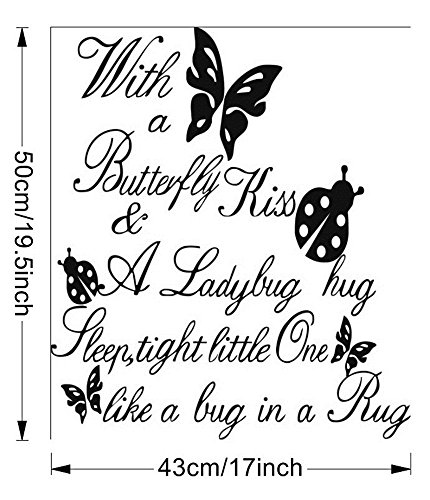 fotokun Decals wall stickers Sayings Lettering Room Home Wall Decor Mural Art With a butterfly kiss & ladybug hug sleep tight little one like a bug in a rug