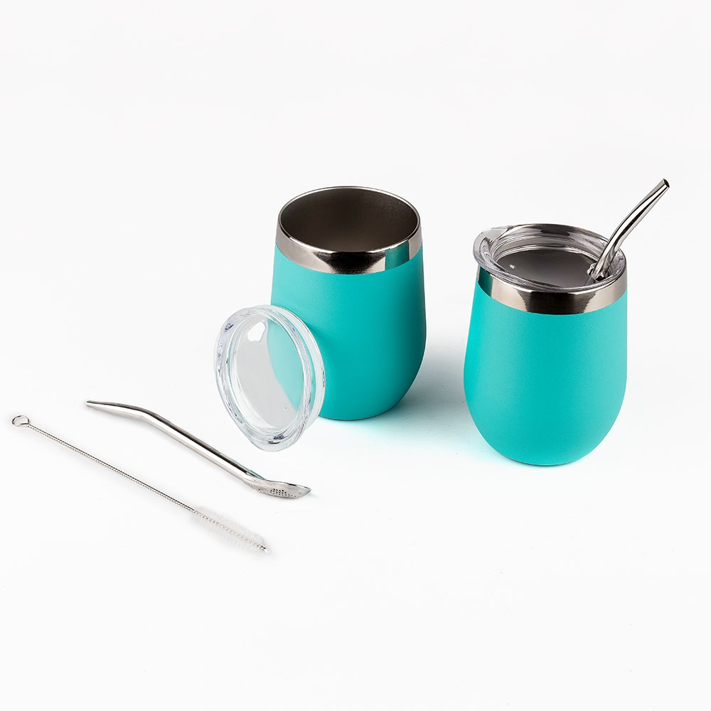 DOKIO Wine Glasses With Stainless Steel Straw 12oz Sippy Cup Tumbler Cyan Stemless Double Wall Vacuum Insulated With Lid Unbreakable For Ice Hot Drink Coffee Champagne Cocktail Mug 2 Sets