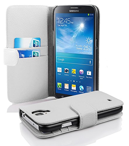 with Samsung Galaxy MEGA 6.3 in SNOW WHITE (Design BOOK STRUCTURE) – with 2 Card Slots – Wallet Case Etui Cover Pouch PU Leather Flip ()