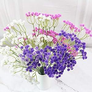lasenersm 21 Pieces Artificial Baby's Breath Artificial Gypsophila Flowers Artificial Flowers DIY Home Garden Wedding Decoration White Pink Purple 7