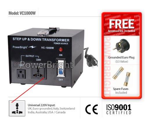 Power Bright VC1000W Voltage Transformer 1000 Watt Step Up/Down converter 110/120 Volt - 220/240 Volt