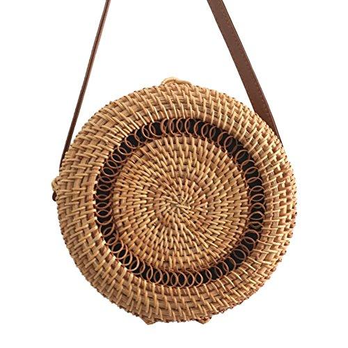 Straw No Round Bags Beach Shoulder Prosperveil Messenger Handbag Woven 4 Rattan Summer Women 1qfnBgw