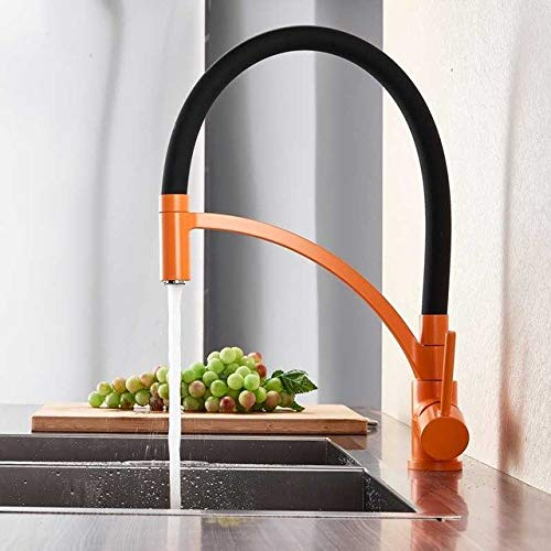 Black and orange U-Enjoy Chandelier Bronze Pull Black Down Sink Top Quality Faucet Kitchen Deck Mounted Hot Cold Bathroom Kitchen and Mixer Tap Brass Spout with Bracket Free Shipping [Black Bronze]
