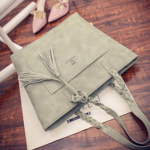 Shoulder Fashion Bags Tote Bags Travel Shoulder Handbag Ladies Bag Leather Single Women Pretty Handbag Purse Green TUDUZ Large Tassel SXqx5wH