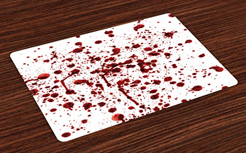 Ambesonne Horror Place Mats Set of 4, Splashes