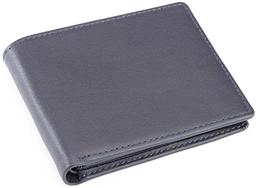Royce Leather Men's RFID Blocking Bifold Wallet in Leather with Double Id Display, Blue