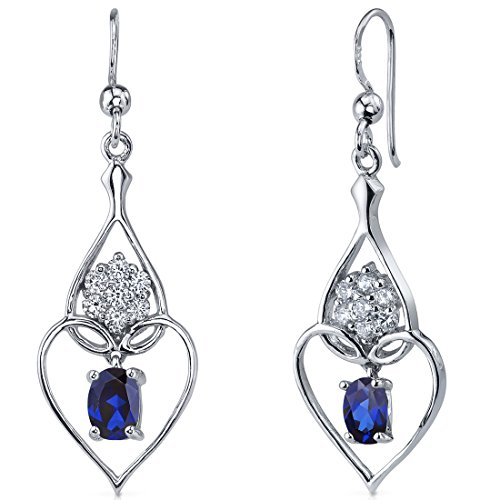 Created Sapphire Dangle Heart Earrings Sterling Silver Rhodium Nickel Finish 2.00 Carats Heart Design (2 Sapphire Heart Ring)